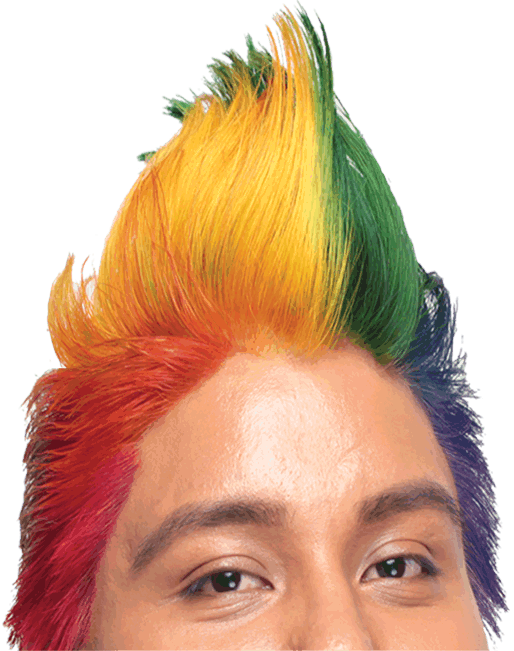 Student with rainbow-colored hair